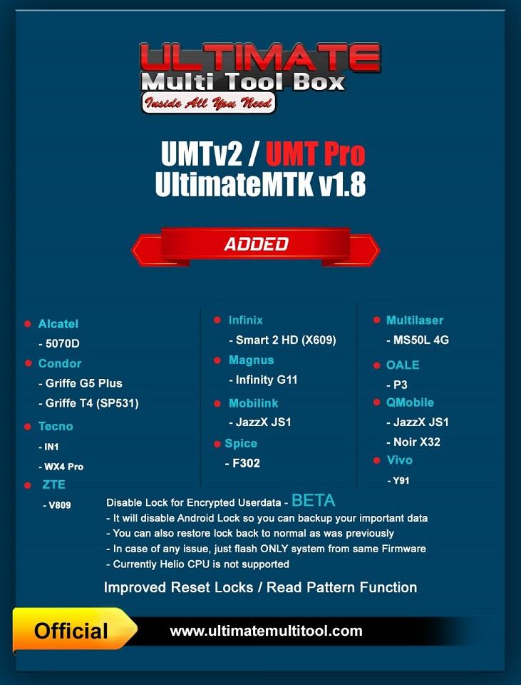 [11-03-19] UMTv2 / UMT Pro - UltimateMTK v1.8 - Disable Lock for Encrypted Userdata.