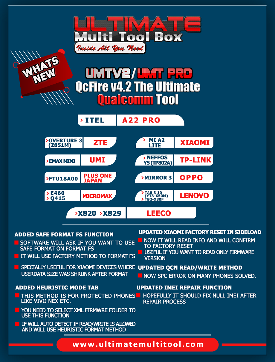 [29-05-19] UMTv2/UMTPro - QcFire v4.2 - Safe Format, Updated IMEI Repair and more...